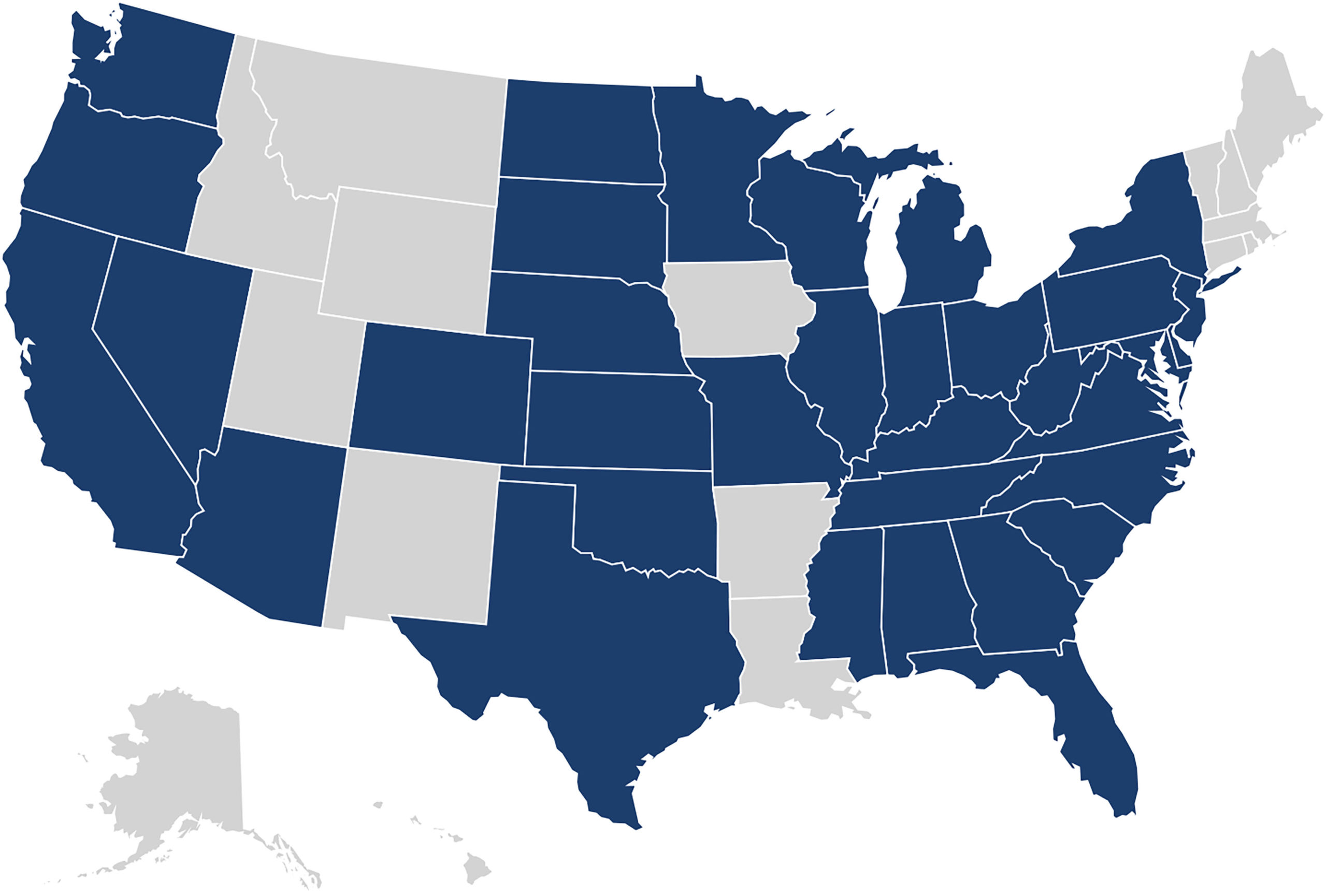 Map of states where health centers are present